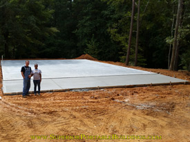40 wide x 50 long concrete pad with 10 ft ramp
