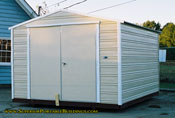 10 x 12 aluminum storage building cream and white