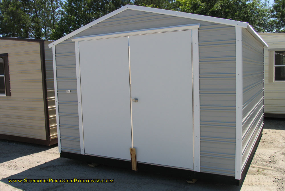 10 x 12 x 6 grey and white georgia portable storage building