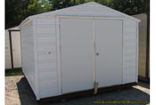 10 x 12 x 6 white and white aluminum portable storage building