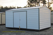 10 x 16 shed white with gray trim long roof double door