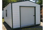 12 x 16 white and green long roof garage