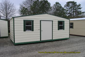 12 x 20 storage building cream with green trim standard roof
