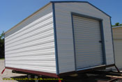 12 x 20 long roof white and blue garage