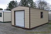 12 x 20 beige and brown long roof garage