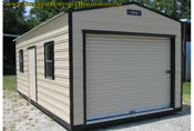 12 x 24 garage beige and black long roof