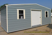 12 x 24 standard roof garage blue with cream trim