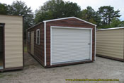 12 x 24 brown wood grain and white long roof garage