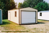 12 x 24 Cream and brown long roof garage