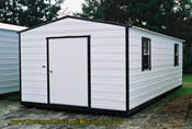 12 x 24 portable building white with black trim long roof 48 end door