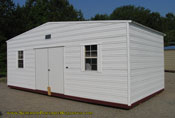 12 x 24 x 8 standard roof white with white trim 6' double door.