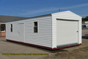 12 x 30 white lap and white trim long roof garage