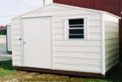 8 x 12 storage building cream with cream trim