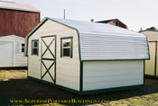 10 x 16 reverse roof barn cream with green trim
