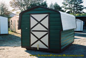 8 x 12 barn green with brown trim