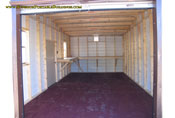 Inside a 12 x 24 x 8 standard roof metal portable building garage