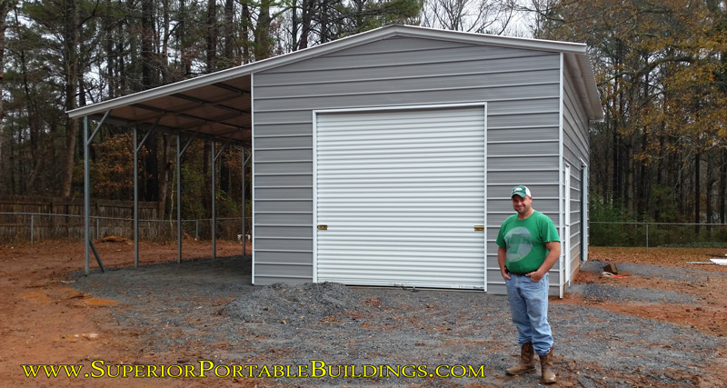 30' wide x 30' long metal building with 12' wide lean too.