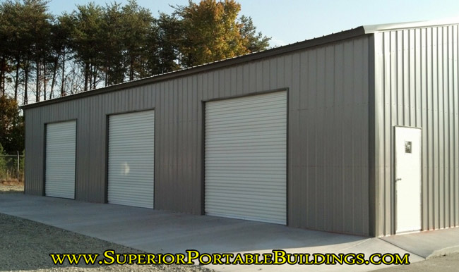 garage doors in side of building