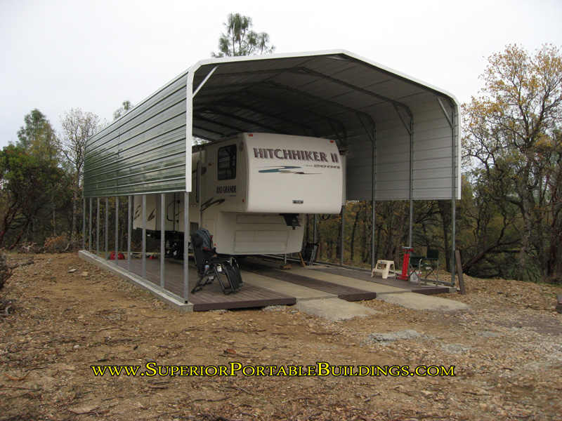 Rv carports carports for recreational vehicles for Motorhome carport plans