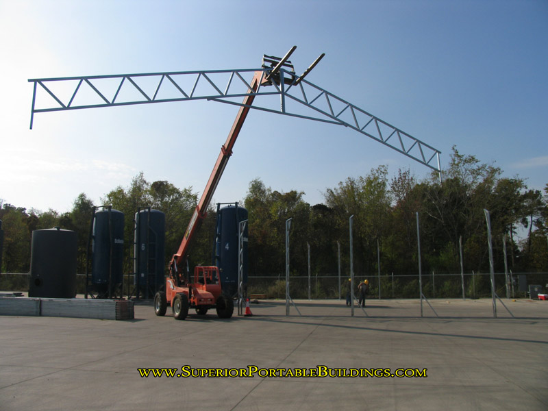 Fork lift is required to build the steel carport