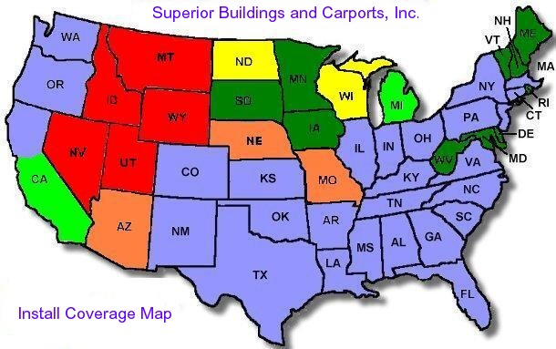 Superior Buildings and Carports Pricing Map
